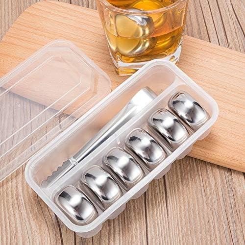 HKD Edelstahl Whisky Steine Dauereiswürfel Wiederverwendbare Metall Chilling Stones mit Eiszange für Whisky, Wein, Gin, Wodka, Tonic und Cocktails Eiswürfel (Color : Silver, Size : 6 Pieces)