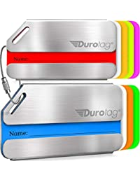 Luggage Tags Personalized Custom Stainless Steel Travel Bag Tag ID 2 Set
