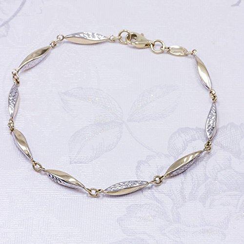 ASS 585or bicolore-Bracelet Femme Grain de riz 18,5cm, brillant 14K