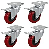 POWERTEC 17205 3-inch Swivel Double Lock Polyurethane Plate Casters, Red, 4-Pack
