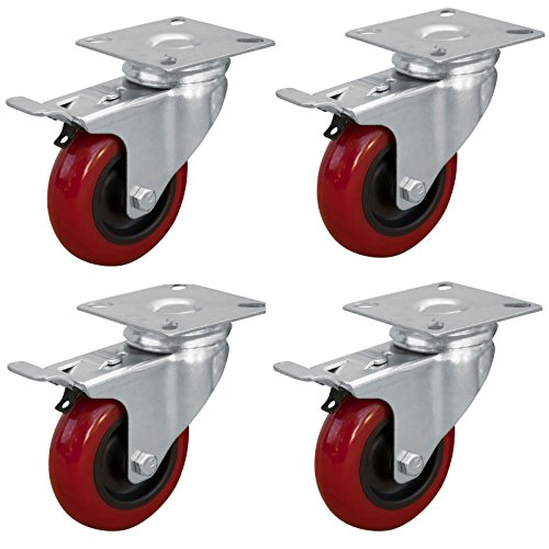 POWERTEC 17205 3-inch Swivel Double Lock Polyurethane Plate Casters, Red, 4-Pack 3 4