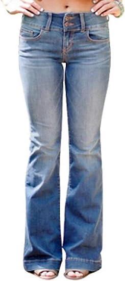 Women Mid Rise Slim Fit Stretch Classic Straight Leg Bell Bottom Flare Denim Jeans Pants