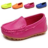 L-RUN Boys Girls Loafers Leather Boat Dress Shoes Rose Red 2 M US Little Kid