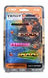 Jed Welsh Fishing Tasmania Devil 7 Grain Trout Fishing Lure Set (Pack of 4)