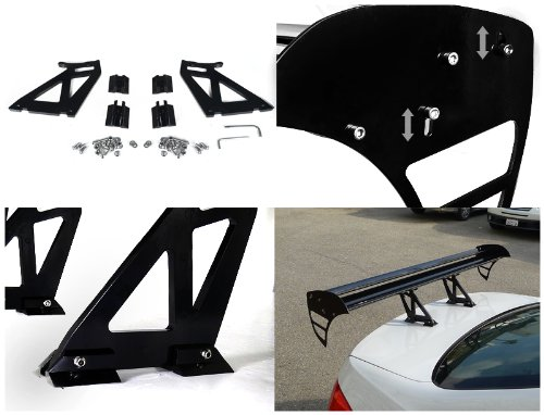 Spec-D Tuning SPL-GT003DD52BK 52 Adjustable Black Aluminum Double Deck Rear Trunk Spoiler Wing