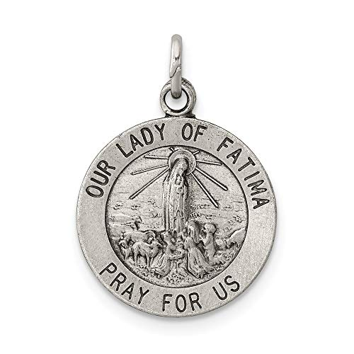 925 Sterling Silver Our Lady Of Fatima Medal Pendant Charm Necklace Religious Fine Jewelry Gifts For Women For Her (Novena Prayer To Our Lady Of Fatima)