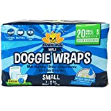 Bodhi Dog Disposable Dog Male Wraps | 20 Premium Quality Adjustable Pet Diapers with Moisture Control and Wetness Indicator | 20 Count Small Size