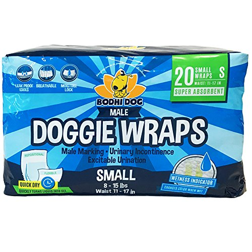 Bodhi Dog Disposable Dog Male Wraps | 20 Premium Quality Adjustable Pet Diapers with Moisture Control and Wetness Indicator | 20 Count Small Size Dog Disposable Diaper