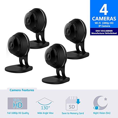 Samsung SNH-V6414BMR SmartCam HD Full HD 1080p Wi-Fi Camera Bundle Quad Pack...