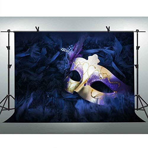 FLASIY Masquerade Party Photography Background 10x7FT Purple Mask Backdrops for Birthday Party Decoration Photo Studio Props GEAY358 -