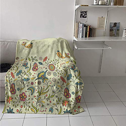 Lightweight Blanket, Flourishing Spring Meadow Ornate Artistic Nature Romantic Birds Butterflies Leaves, Throw Blanket for Kids 50x30 Inch Multicolor