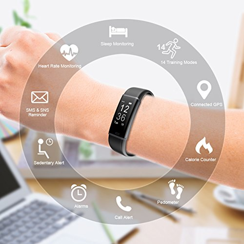 Large Product Image of Lintelek Fitness Tracker, Customized Activity Tracker with Heart Rate Monitor, 14 Sports Modes Smart Watch IP67 Waterproof Pedometer for Men, Women and Kids