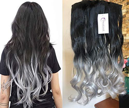 (20 Inches Thick One Piece Half Head Wavy Curly Ombre Clip in Hair Extensions (Col. Natural black to Grey) DL)