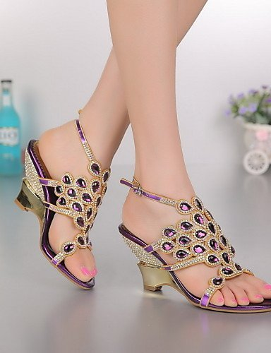 ShangYi Womens Shoes Leather Wedge Heel Heels Sandals Party & Evening / Dress / Casual Purple / Gold Purple