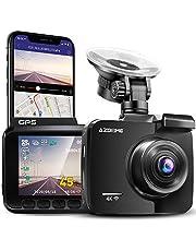 AZDOME 4K WiFi dashcam met GPS autocamera met 170° groothoeklens, nachtzicht, loop-opname, G-sensor, parkeermonitor en bewegingsdetectie auto dashcam (GS63H)