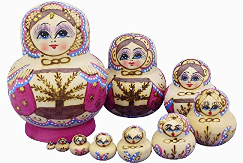 Perfect Mother's Day Gift Beautiful Purple Little Girl and Tree Pattern Wooden Handmade Hand-painted Russian Nesting Dolls Matryoshka Dolls Set 10 Pieces Children Kids Toys Gift Home Decoration - Hand Painted Nesting Dolls