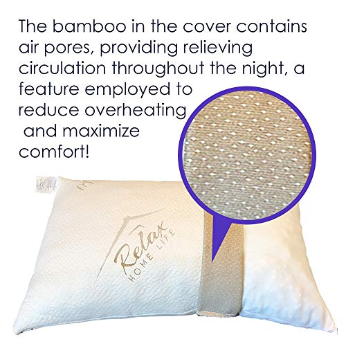 Memory Foam Pillows For Sleeping - USA MADE - (Queen) Ultra-Luxury Bamboo, Adjustable CertiPUR-US Shredded Memory Foam and Poly Blend, Hypoallergenic Bed Pillow for Side, and Back Sleeper