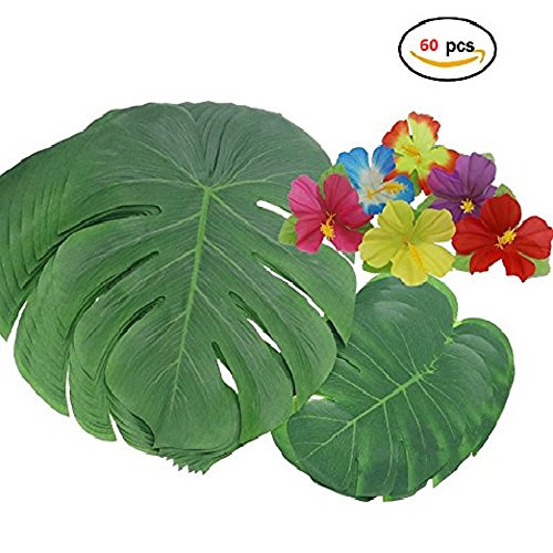 60 Pcs Tropical Party Decoration Supplies13 And 8  Tropical Palm Leaves And Hibiscus Flowers  Simulation Leaf For Hawaiian Luau Party Jungle Beach Theme Table Hibiscustropicalleaf 60Pcs