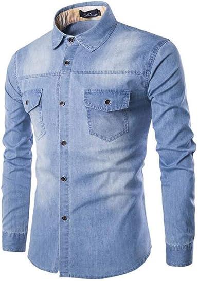 Huateng Camisas de Hombre de Moda Camisas de Mezclilla Manga Larga Bolsillo Lavado Delgado Cárdigan Color Sólido: Amazon.es: Ropa y accesorios