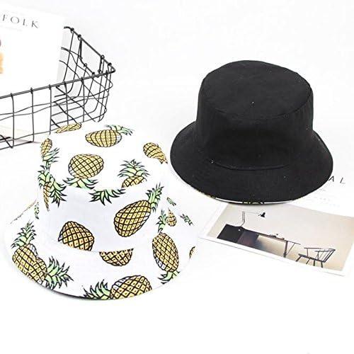 Chytaii Chapeau de P/êche pour Fille Chapeau de Soleil en Toile Double-Face Anti-Soleil UV Bob Hat Pliable Mignon Motifs de Fruits Ananas Protection Solaire du Visage en /Ét/é