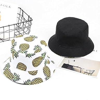 Westeng Chapeau Bob Toile de Coton Motif dananas Chapeau de Soleil Double Face Pliable Anti-UV Protection /Ét/é pour Femmes 56-58cm