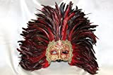 Ladies Deluxe Half Face Venetian Carnival Masquerade Masks with Feathers (Gold + Red Feathers)