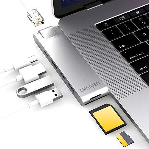 CharJenPro MacBar E USB C Hub for MacBook Pro 2019, 2018-2016, MacBook Air 2019, 2018, Gigabit Ethernet, HDMI 4K, Thunderbolt 3, 100W PD, MicroSD/SD Card Readers, 2 USB 3.0, (MacBook Pro USB C Hub)