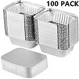 "XIAFEI Aluminum Pans (100-Pack) - Durable Aluminum Rectangular Foil Pans Table Deep Pans (5 1/2"" x 4 1/2"" x 1 7/10""), With Board Lids"