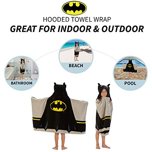 Franco HH4598 Kids Bath and Beach Soft Cotton Terry Hooded Towel Wrap, 24″ x 50″, Batman