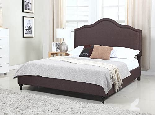 Home Life Cloth Brown Linen 51 Tall Headboard Platform Bed With Slats Full