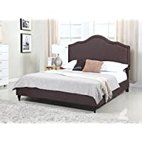 Home Life Cloth Brown Linen 51 Tall Headboard Platform Bed with Slats King - Complete Bed 5 Year Warranty Included 009