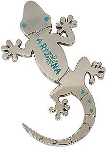 Gecko Magnet (Silver) Decorative Metal Refrigerator Magnet Southwest Gift Idea - Arizona Souvenir