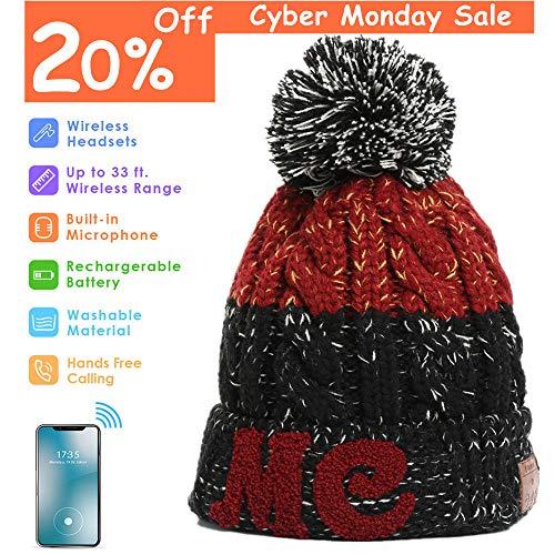Bluetooth Beanie, Wireless Headphone Beanie, Pom Pom Beanie with Bluetooth Headphones, Bobble Hat with Wireless Headphones, Gifts for Girls and Boys