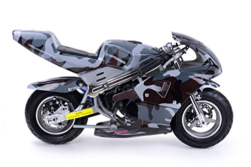 Rosso Motors Motorcycle for Kids cc Gas Mini Pocket Bike Ghost Black - EPA ()