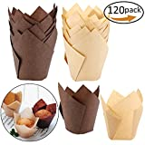 #10: 120 Pieces Tulip Cupcake Liner Baking Cups Muffin Tins Treat Cups for Weddings, Birthdays, Baby Showers,Brown and Natural