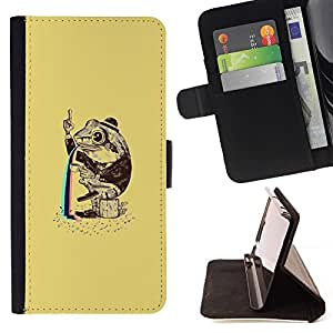 For Sony Xperia M2 Funny Psychedelic Rainbow Toad Frog Beautiful Print Wallet Leather Case Cover With Credit Card Slots And Stand Function