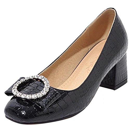 AIYOUMEI Vernis Chaussure Femme Talon Bloc Bout Rond Sandales Papillon a Strass Confortable Noir 98Vnb