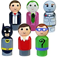 Bif Bang Pow! Batman Classic TV Series Pin Mate Wooden Figure Set of 6 Collectible, 2""