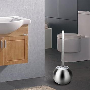 OYSHOPP Escobillero de WC Elegante escobilla de baño de Acero Inoxidable Escobillas y portaescobillas de Inodoro (01-Esférico)