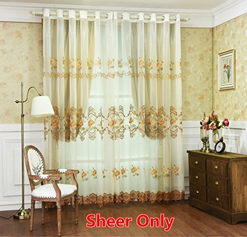 Peony Lace (WPKIRA Wedding Room 1 Panel Lace Bottom Edge Peony Floral Embroidery Screens Sheer Curtain Panels Grommet Window Treatments Custom Sheer Curtain Drapes for Living Room , Brown , W39 x L84 inch)