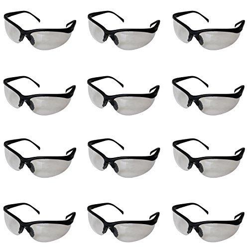 Kurtzy Confezione da 12 Occhiali da Lavoro Neri Trasparenti da Grande Set Occhiali Uso Laboratori di Chimica, Cantieri Edili, Sostanze Chimiche altro- Design Flessibile Comfortevole NE-3001