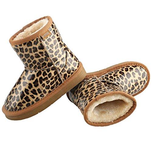 begorey Kinder Stiefel Gefütterte Boots Booties Winterstiefel Warme Watte Gepolsterten Schuhe Winterschuhe Schneestiefel Leopard