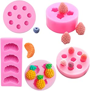 5 Pack Fruit Shape Silicone Molds Wax Soap Embeds Molds 3D Food Snacks Cupcake Jelly Molds Clay Candle Molds Mini Strawberry Raspberry Blueberry Pineapple Orange Silicone Slice Mold Cake Decoration