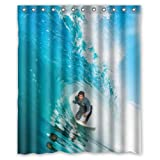 Cool Man Surfing Throw the Waves Love Sport Theme - Fashion Personalize Custom Bathroom Shower Curtain Waterproof Polyester Fabric 60(w)x72(h) Rings Included