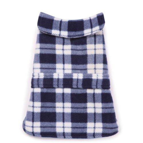 Casual Canine Polyester Plaid Fleece Dog Barn Coat, XX-Small, 8-Inch, Blue ()