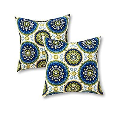 Greendale Home Fashions 17 in. Outdoor Accent Pillow (set of 2), Summer - Set includes two 17-inch square accent pillows 100% polyester, UV-resistant outdoor fabric Poly fiber fill made from 100-percent recycled, post-consumer plastic bottle - patio, outdoor-throw-pillows, outdoor-decor - 51mqWCjXfRL. SS400  -