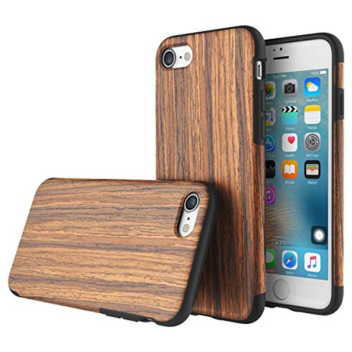 (Case+Film+Stylus+Wrap+Cap Real Wood Wooden Slim Fit Hybrid Fits Apple iPhone 7/8 Snap on Cover Real Wood Soft TPU Case - Rosewood)