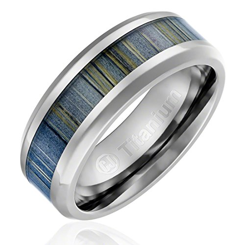 8MM Titanium Promise Engagement Rings for Men | Wedding Bands for Him | Black and Gray Zebra Wood Inlay [Size 10]