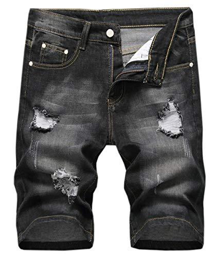 Men's Distressed Ripped Hole Jean Shorts Denim Short Pants, 2# Black, US 36 = Tag 36