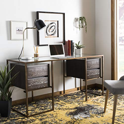 - Safavieh KNT7052A Home Collection Castille Oak Desk, Brass